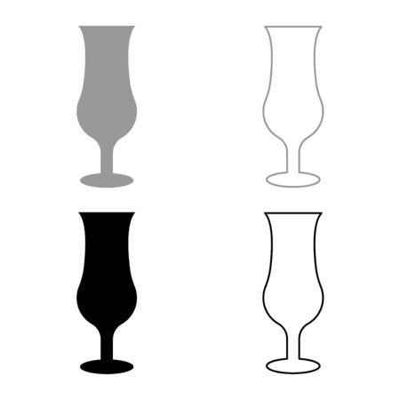 Cocktail glass icon outline set black grey color vector illustration flat style simple image