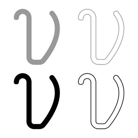 Upsilon greek symbol small letter lowercase font icon outline set black grey color vector illustration flat style simple image Illustration