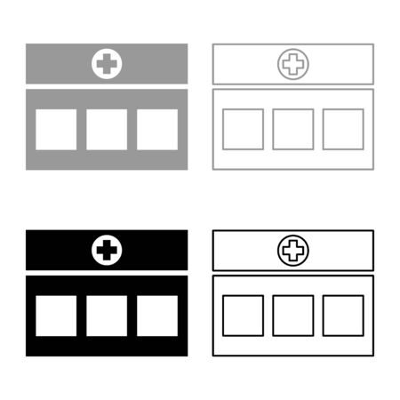 Hospital Clinic Medical building icon outline set black grey color vector illustration flat style simple image Ilustração
