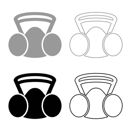 Respirator mask replaceable filter Personal protection safety dust absent equipment icon outline set black grey color vector illustration flat style simple image Illustration