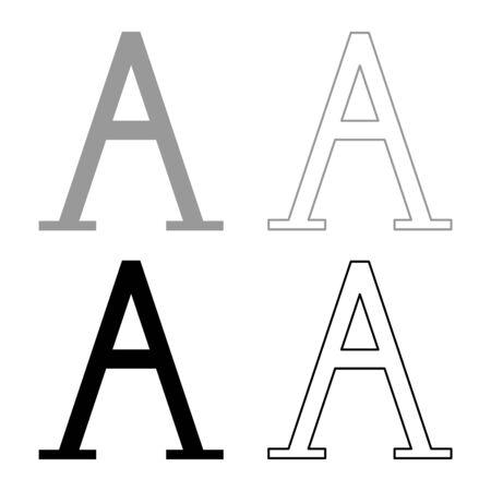 Alpha greek symbol capital letter uppercase font icon outline set black grey color vector illustration flat style simple image
