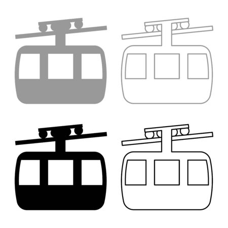 Funicular air way cable car Ski lift Mountain resort Aerial transportation tourism Ropeway Travel cabin icon outline set black grey color vector illustration flat style simple image