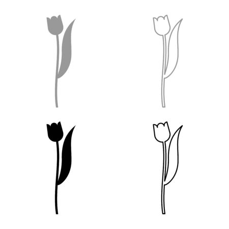 Flower tulip plant silhouette icon outline set black grey color vector illustration flat style simple image