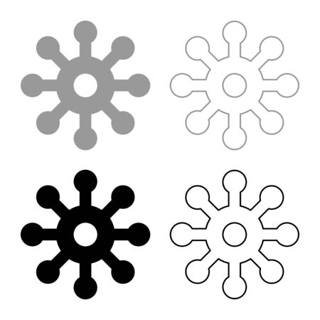 Virus Corona infaction Coronavirus COVID-19 Infection Virology icon outline set black grey color vector illustration flat style simple image Ilustração