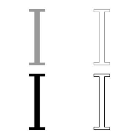 Iota greek symbol capital letter uppercase font icon outline set black grey color vector illustration flat style simple image