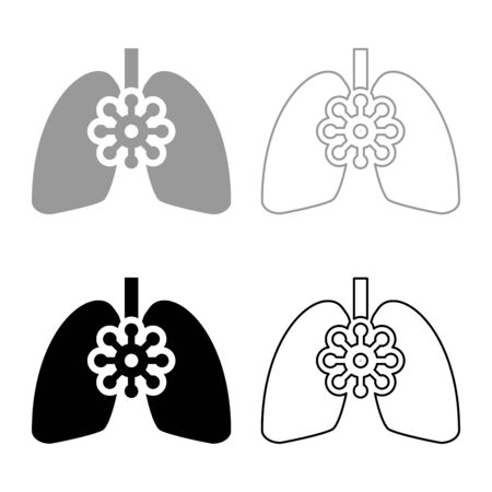 Coronavirus damaged lungs Virus corona atack Eating lung concept Covid 19 Infected tuberculosis icon outline set black grey color vector illustration flat style simple image