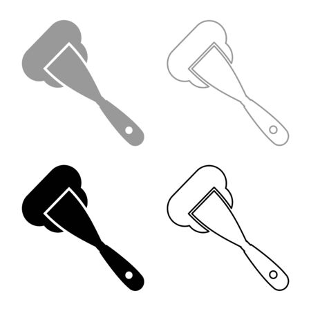 Construction spatula spreading mortar Working tools Manufacturing equipment Plasterer Stucco putty icon outline set black grey color vector illustration flat style simple image Ilustração