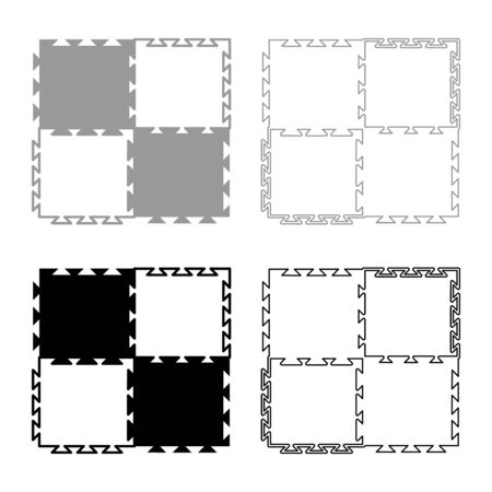 Puzzle sport mat with foam Play concept Tatami icon outline set black grey color vector illustration flat style simple image