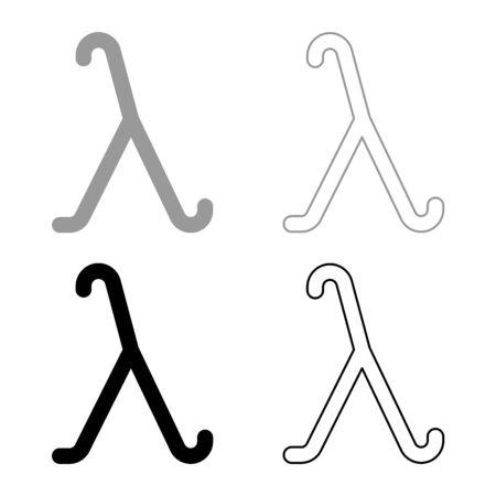 Lambda greek symbol small letter lowercase font icon outline set black grey color vector illustration flat style simple image
