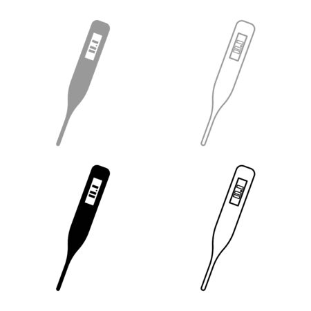 Medical electronic thermometers with digital display Temperature measuring Electric measure concept icon outline set black grey color vector illustration flat style simple image
