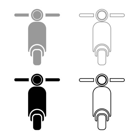 Scooter Motorcycle Motobike Delivery concept Moped Shipping icon outline set black grey color vector illustration flat style simple image