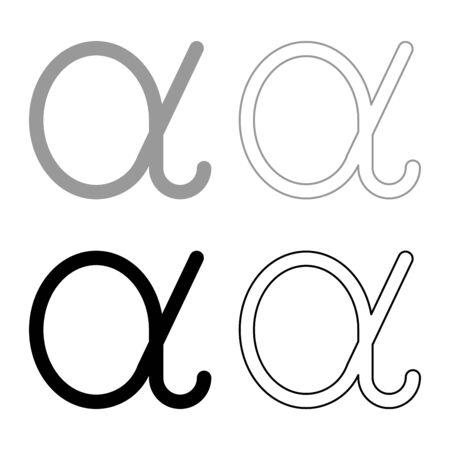 Alpha greek symbol small letter lowercase font icon outline set black grey color vector illustration flat style simple image Illustration