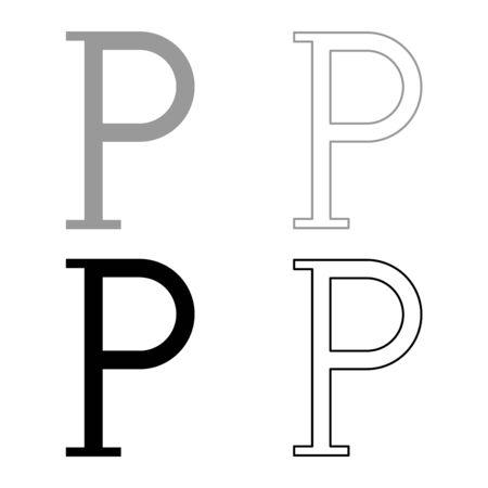Rho greek symbol capital letter uppercase font icon outline set black grey color vector illustration flat style simple image