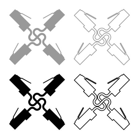 Four connector rj 45 cable   technology icon outline set black grey color vector illustration flat style simple image