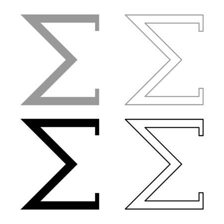Sigma greek symbol capital letter uppercase font icon outline set black grey color vector illustration flat style simple image