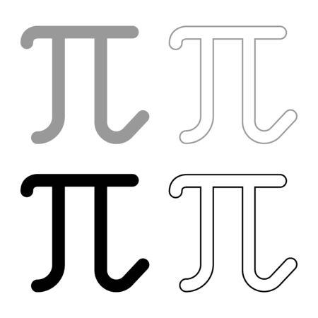 Pi greek symbol small letter lowercase font icon outline set black grey color vector illustration flat style simple image Illustration