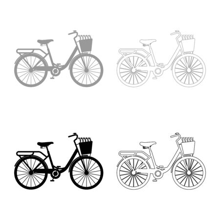 Bicycle with basket and flowers tulips icon outline set black grey color vector illustration flat style simple image