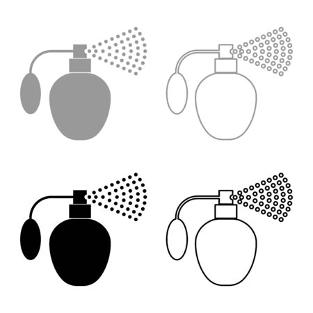 Vintage spray Old aerosol perfume Essence in container Flacon Glass bottle perfume with pump cloud bubble Fragrance retro concept icon outline set black grey color vector illustration flat style simple image