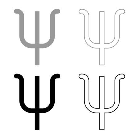 Psi greek symbol small letter lowercase font icon outline set black grey color vector illustration flat style simple image Illustration