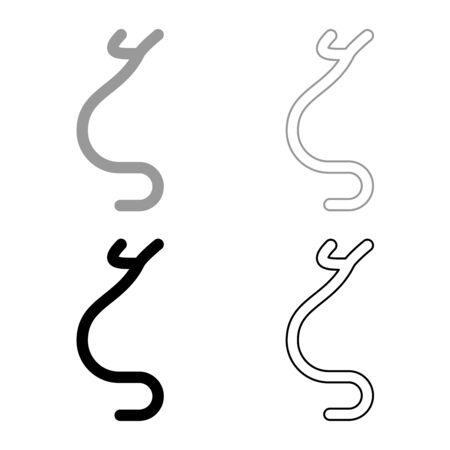 Zeta greek symbol small letter lowercase font icon outline set black grey color vector illustration flat style simple image