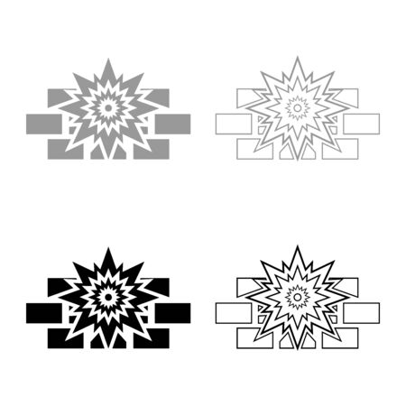 Explosion brick wall icon outline set black grey color vector illustration flat style simple image