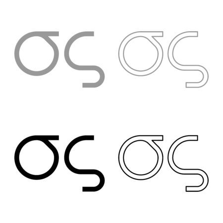 Sigma greek symbol small letter lowercase font icon outline set black grey color vector illustration flat style simple image