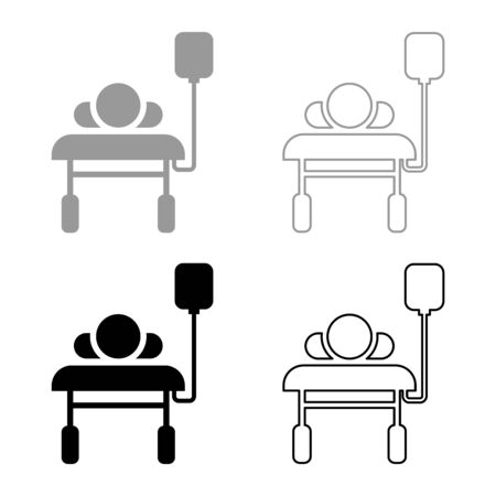 Patient lying on medical bed couch with dropper Man with dropping bottle Emergency therapy concept injecting resuscitation Intensive care icon outline set black grey color vector illustration flat style simple image Illustration