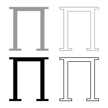 Pi greek symbol capital letter uppercase font icon outline set black grey color vector illustration flat style simple image