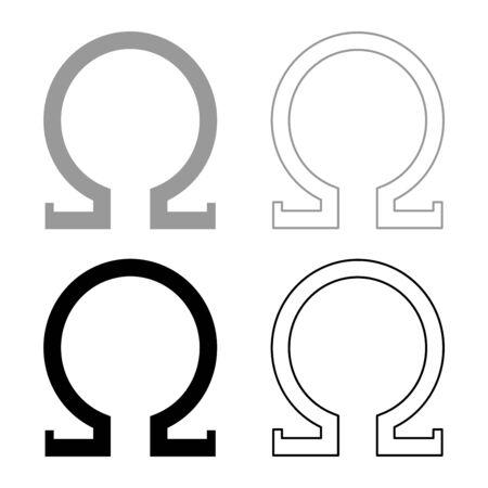 Omega greek symbol capital letter uppercase font icon outline set black grey color vector illustration flat style simple image