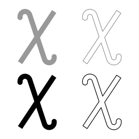 Chi greek symbol small letter lowercase font icon outline set black grey color vector illustration flat style simple image