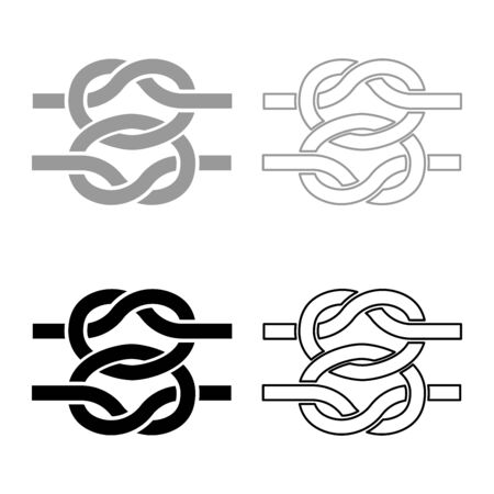 Two nautical knots Ropes Wire with loop Twisted marine cord icon outline set black grey color vector illustration flat style simple image