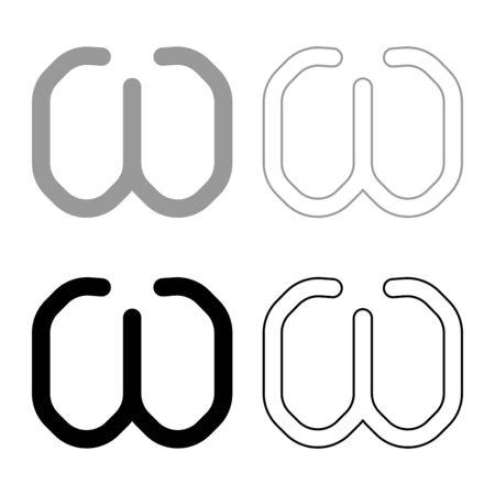 Omega greek symbol small letter lowercase font icon outline set black grey color vector illustration flat style simple image Illustration
