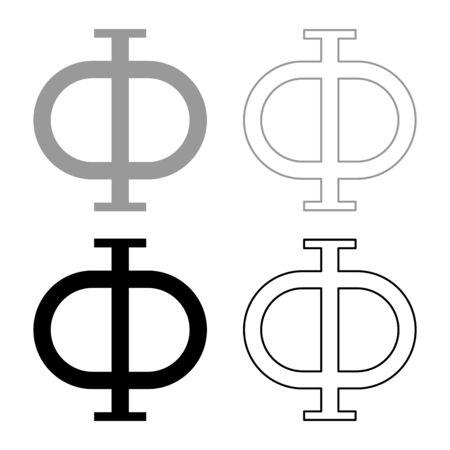 Phi greek symbol capital letter uppercase font icon outline set black grey color vector illustration flat style simple image Illustration