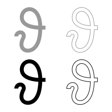 Theta greek symbol Teta Zeta icon outline set black grey color vector illustration flat style simple image