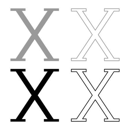 Chi greek symbol capital letter uppercase font icon outline set black grey color vector illustration flat style simple image