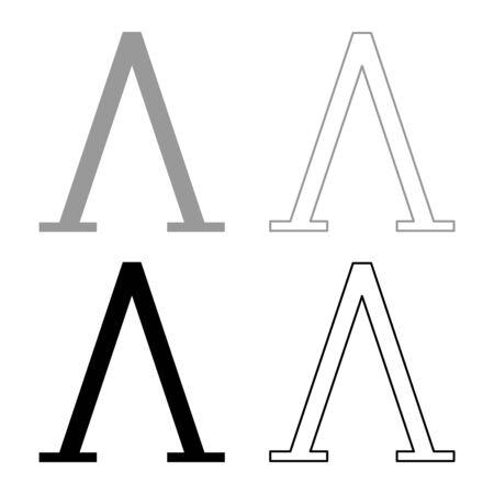 Lambda greek symbol capital letter uppercase font icon outline set black grey color vector illustration flat style simple image Illustration