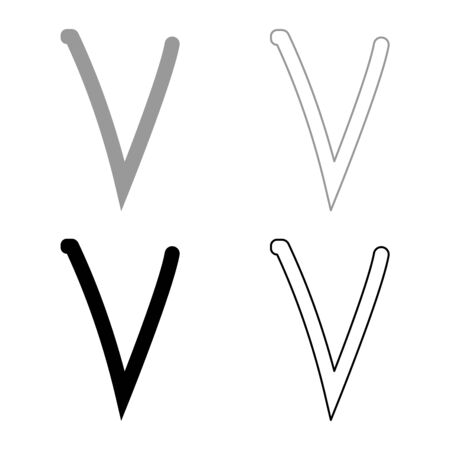 Nu greek symbol small letter lowercase font icon outline set black grey color vector illustration flat style simple image