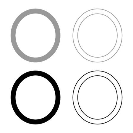 Omicron greek symbol capital letter uppercase font icon outline set black grey color vector illustration flat style simple image