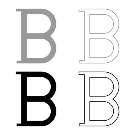 Beta greek symbol capital letter uppercase font icon outline set black grey color vector illustration flat style simple image Illustration