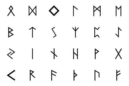 Runes of Scandinavia set icon black color solid style vector illustration