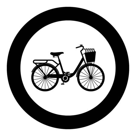Bicycle with basket and flowers tulips icon in circle round black color vector illustration flat style simple image