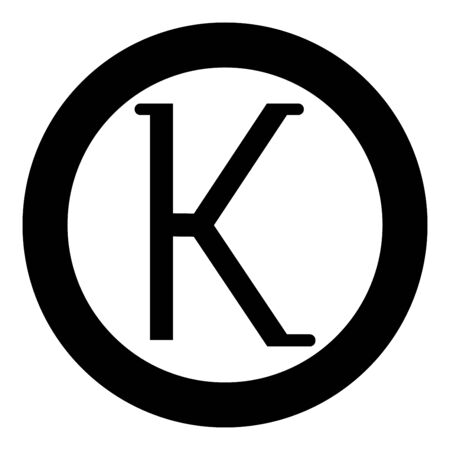 Kappa greek symbol small letter lowercase font icon in circle round black color vector illustration flat style simple image Illustration