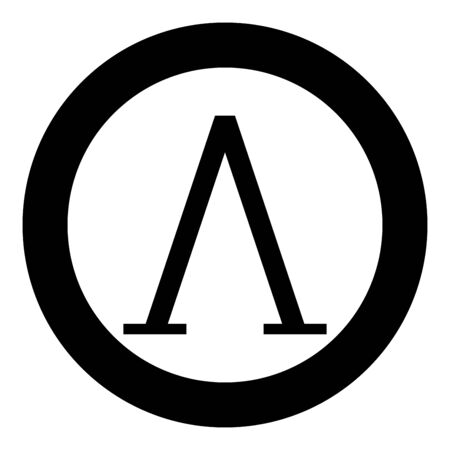 Lambda greek symbol capital letter uppercase font icon in circle round black color vector illustration flat style simple image Illustration