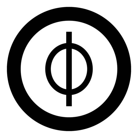 Phi greek symbol small letter lowercase font icon in circle round black color vector illustration flat style simple image