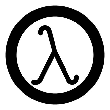 Lambda greek symbol small letter lowercase font icon in circle round black color vector illustration flat style simple image
