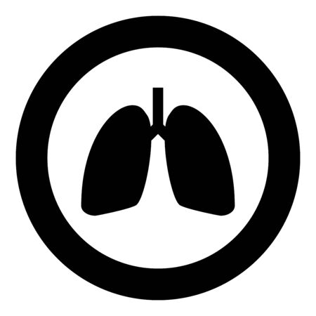 Lungs human icon in circle round black color vector illustration flat style simple image
