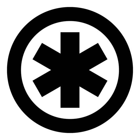 Medical symbol Emergency sign Star of life Service concept icon in circle round black color vector illustration flat style simple image