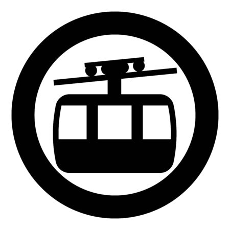 Funicular air way cable car Ski lift Mountain resort Aerial transportation tourism Ropeway Travel cabin icon in circle round black color vector illustration flat style simple image Ilustracja