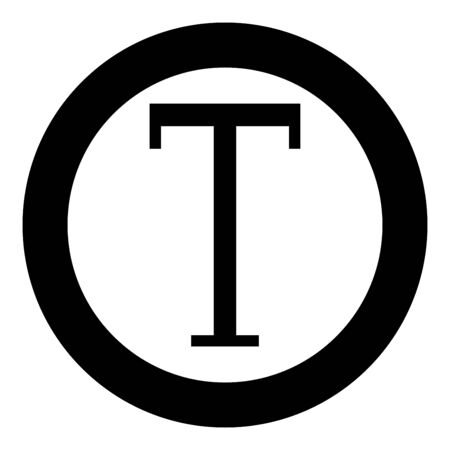 Tau greek symbol capital letter uppercase font icon in circle round black color vector illustration flat style simple image