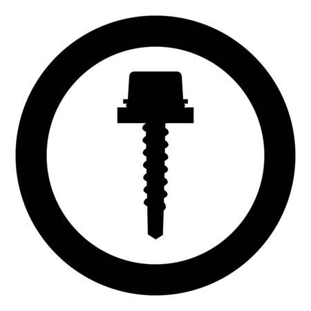 Metal roof screw Mounting profiled corrugated sheeting icon in circle round black color vector illustration flat style simple image